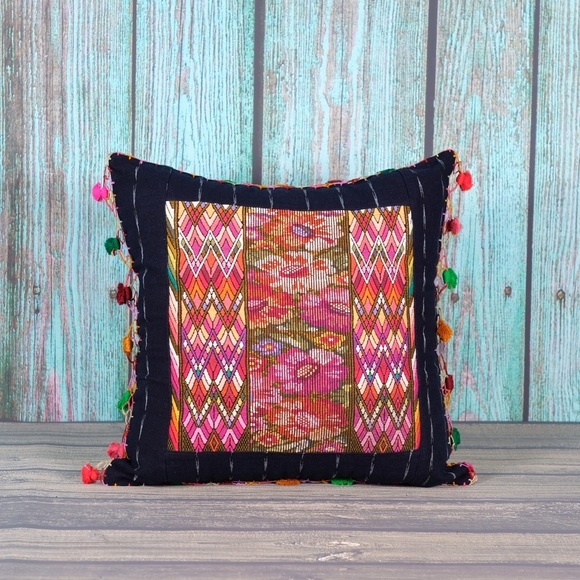 Colorful Mixed Huipile Embroidered Guatemalan Throw Pillow Cover